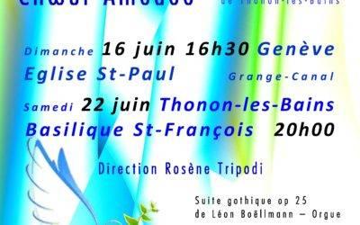 Dimanche 16 juin à 16h30, Concert Choeur et Orgue