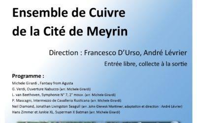 Jeudi 6 juin à 20h30, Concert de l'Ensemble de Cuivres de la Cité de Meyrin