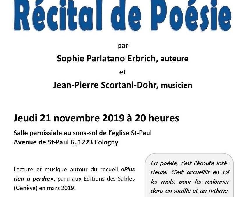21 novembre : récital de poésie